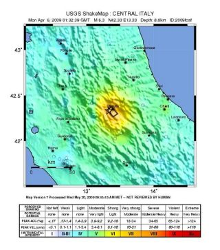 Shaking intensity of the 2009 L'Aquila, Italy earthquake