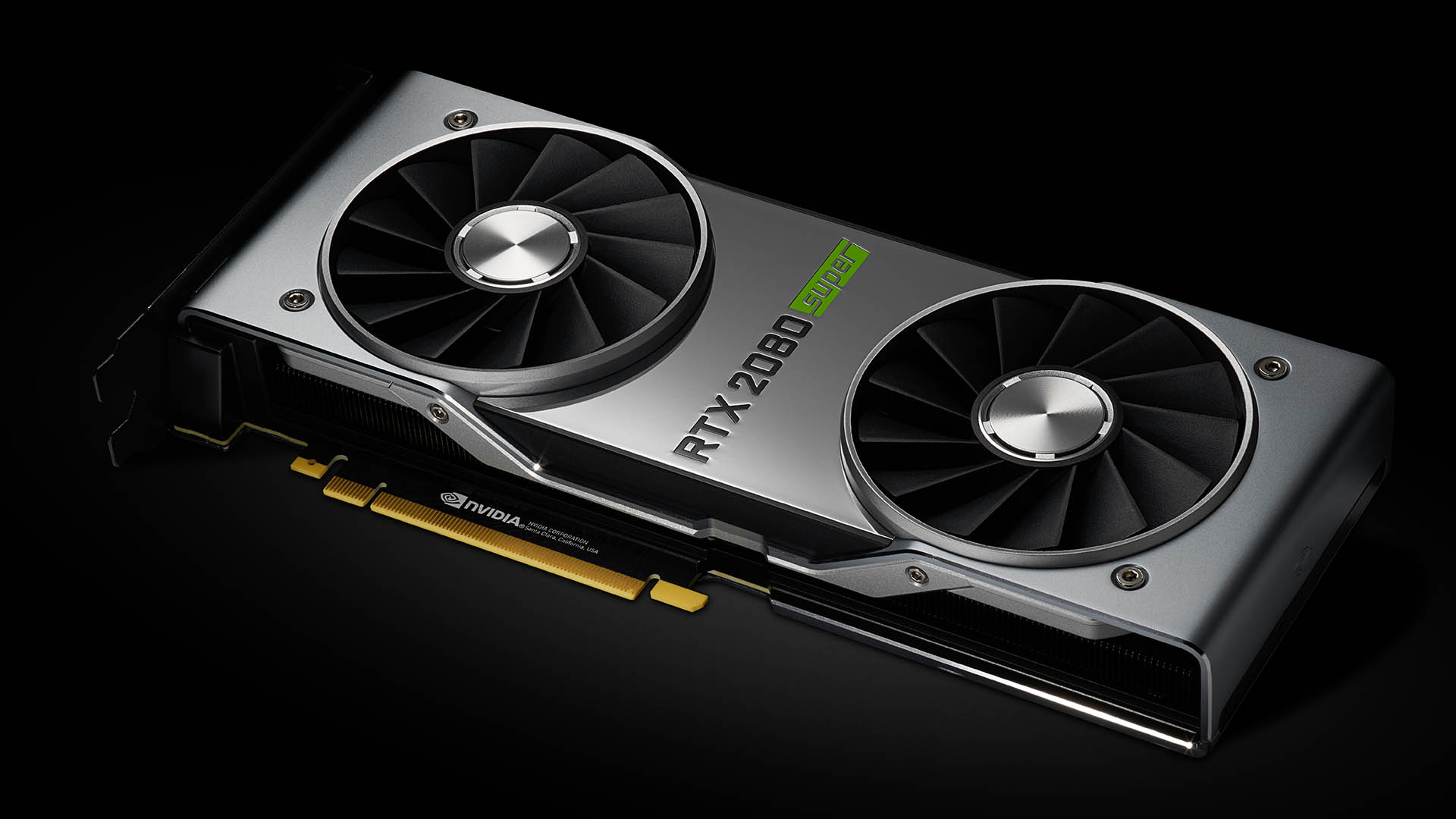 An image of the RTX 3080 Super graphics card on a black background