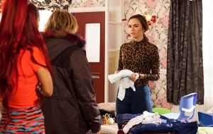 Mercedes McQueen is packing to take the kids away in Hollyoaks