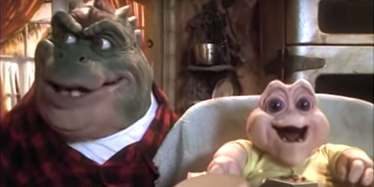 Earl and Baby Sinclair sharing a moment on Dinosaurs