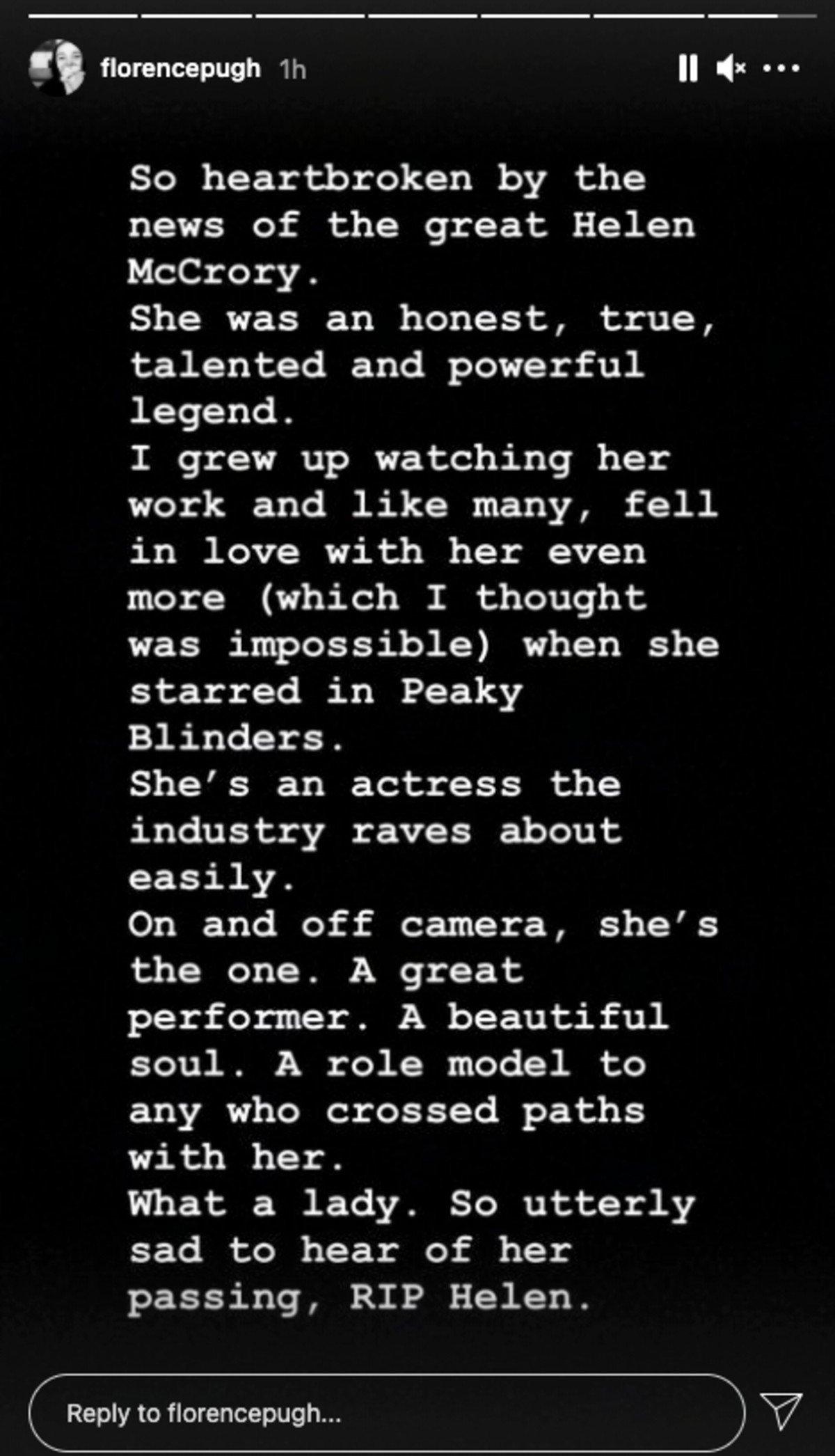 Florence Pugh Instagram message