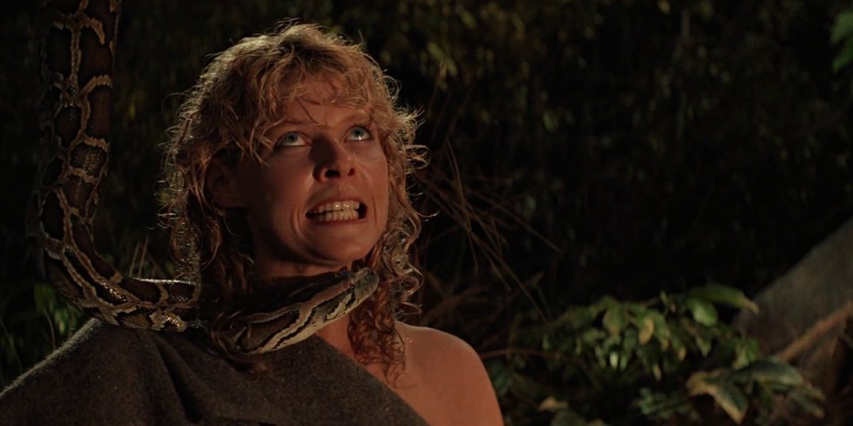 Kate Capshaw with a different snake than she refused to go near in Indiana Jones and the Temple of Doom