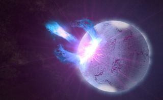 Bursts of energy shoot from this artist's conception of a magnetar.