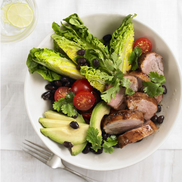 Smokey Pork Tenderloin Salad with tabasco lime dressing recipe-recipes-recipe ideas-woman and home