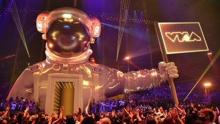 A view of the atmosphere during the 2021 MTV Video Music Awards at Barclays Center on Sept. 12, 2021 in the Brooklyn borough of New York City.