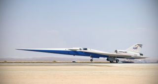 An illustration of the X-59 supersonic plane landing on a runway.
