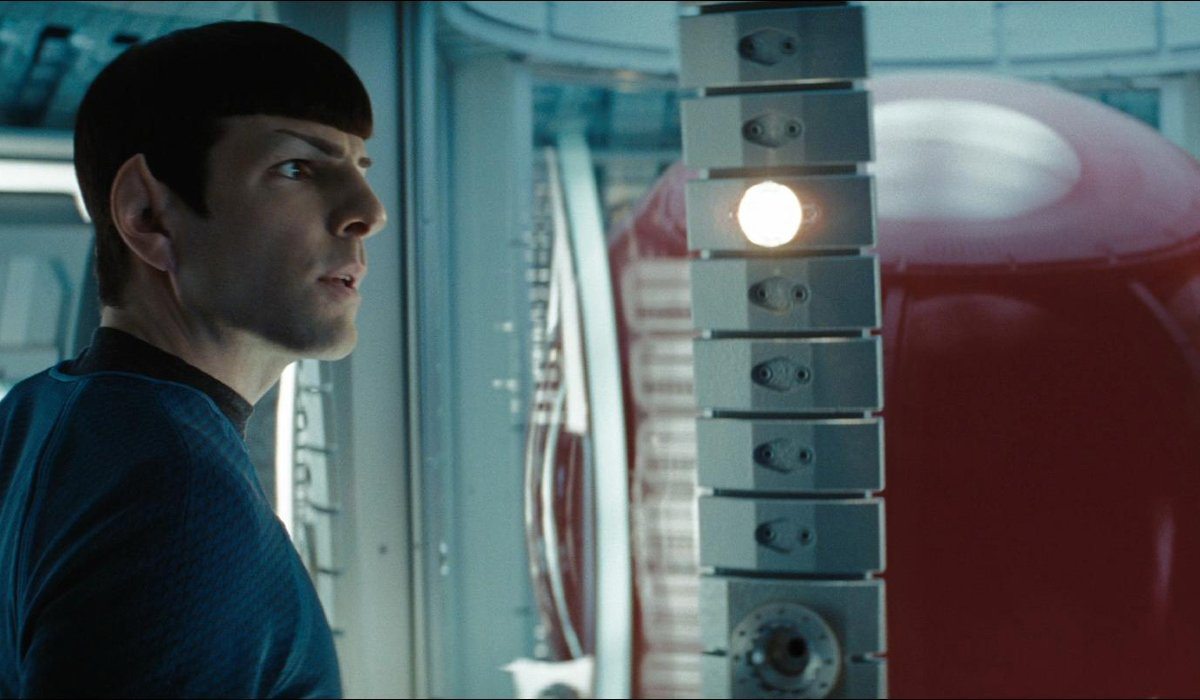 Star Trek Young Spock stands in front of the Red Matter