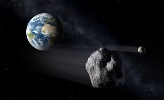 An artist's depiction of a hazardous near-Earth asteroid.