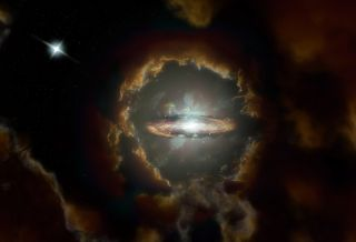 An artist's impression of the Wolfe Disk, a massive disk galaxy in the early universe.