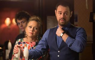 The Carters discuss the future of The Vic and Mick decides that they have no option but to make an announcement. Mick breaks the news to his regulars telling them the renovation costs leave them no option but to hand over The Vic to the freeholders. Linda Carter, Mick Carter in Eastenders.