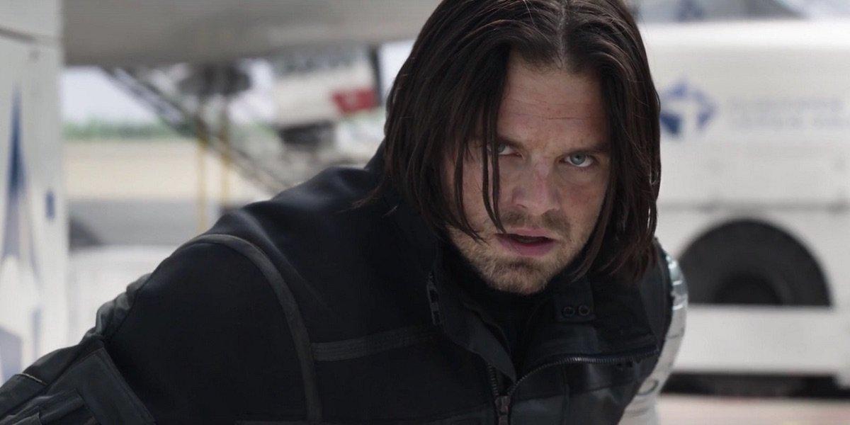 Sebastian Stan gazing intently as Winter Soldier in Captain America: Civil War