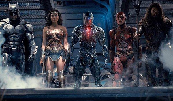 Justice League Batman, Wonder Woman, Cyborg, The Flash, and Aquaman getting off of a ship