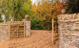 Timber gates to rural driveway