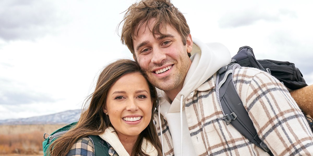 The Bachelorette Katie Thurston and Greg Grippo pose for a photo on their camping date.