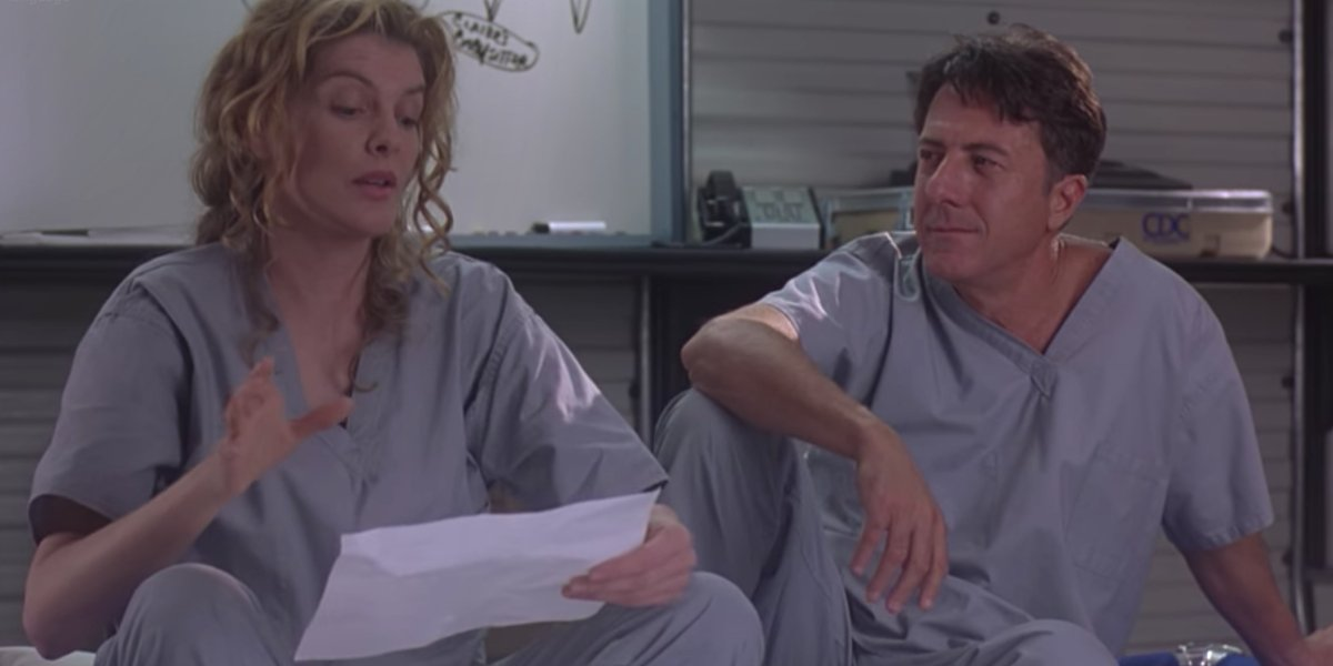 Rene Russo and Dustin Hoffman in Outbreak