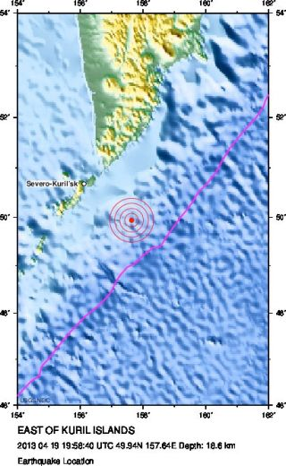 Map of earthquake location east of Kuril Islands