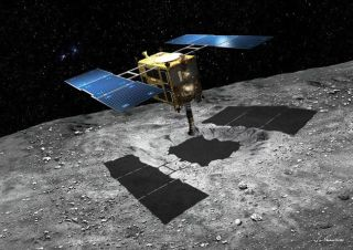 An artist's depiction of the Hayabusa2 spacecraft at the asteroid Ryugu.
