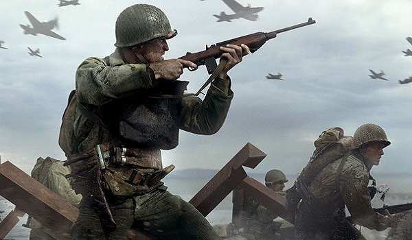 A soldier charges in Call of Duty WWII