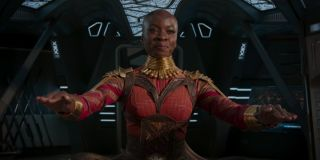 Okoye flying a ship in Black Panther