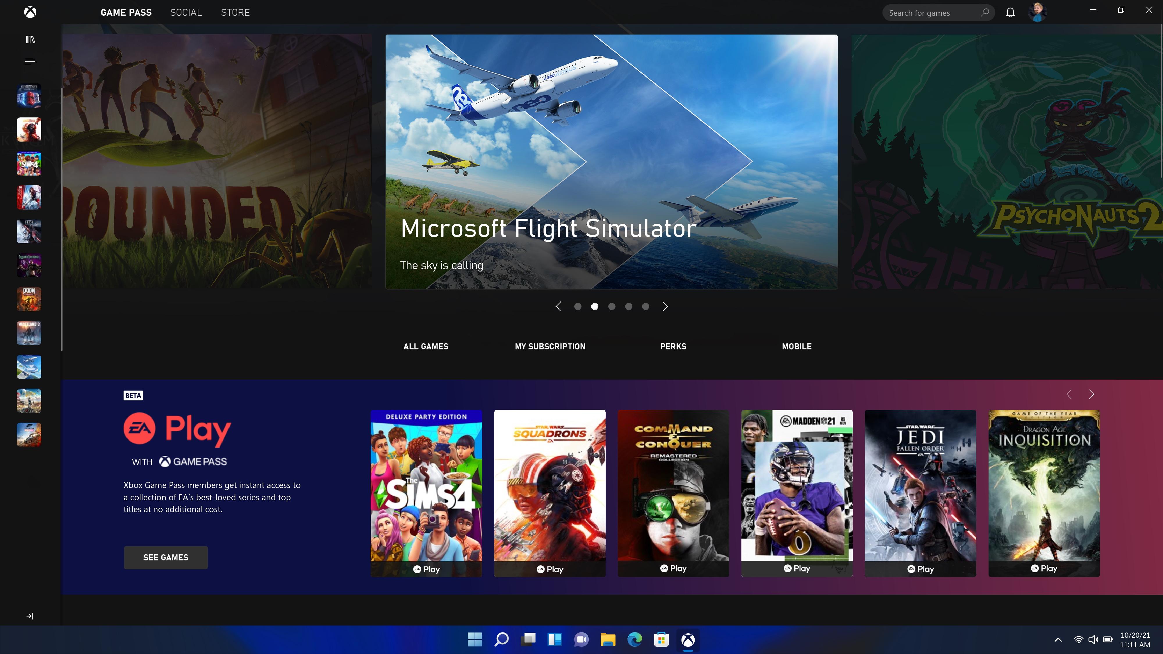 Microsoft Windows 11 Xbox app screen with EA Play and Microsoft Flight Sim ad