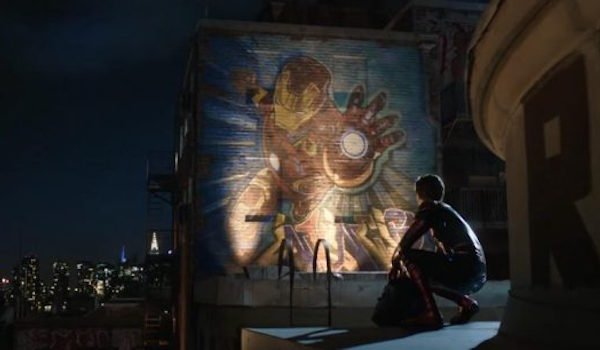 Iron Man mural in NYC with tom Holland's Spider-man in Far From Home