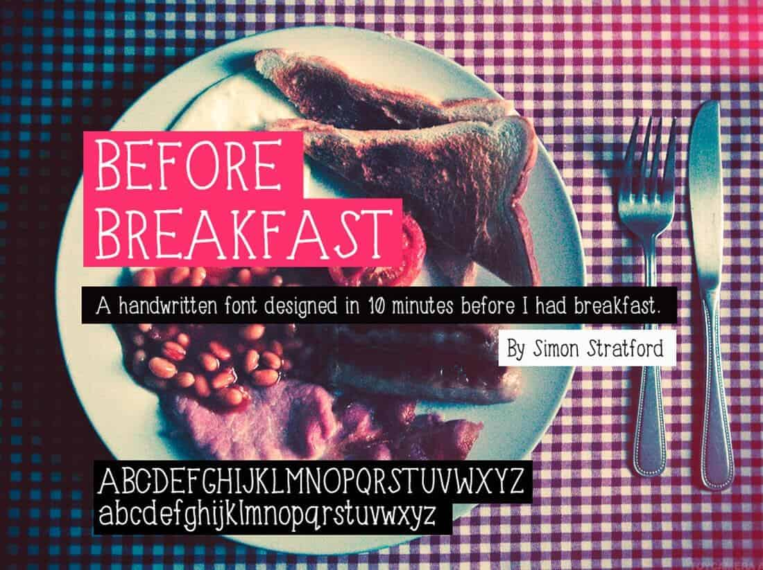 Free handwriting fonts: Before Breakfast