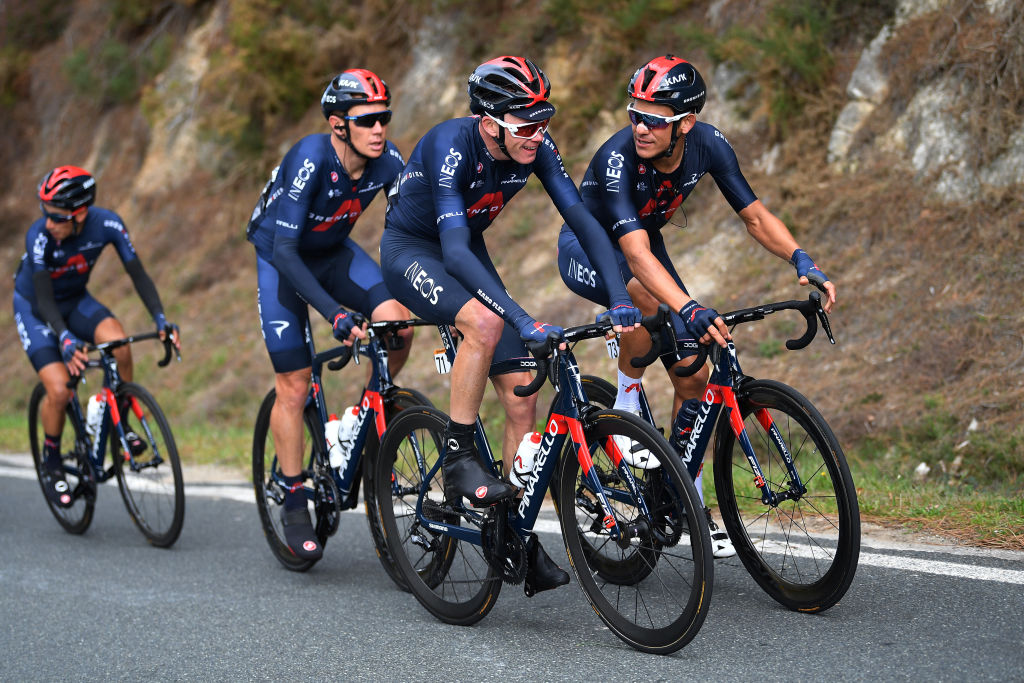 Chris Froome enjoys a relaxed moment with his Ineos teammates