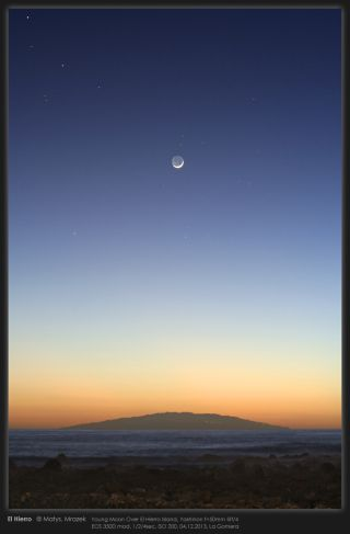 Young Moon Shines Over El Hierro Island