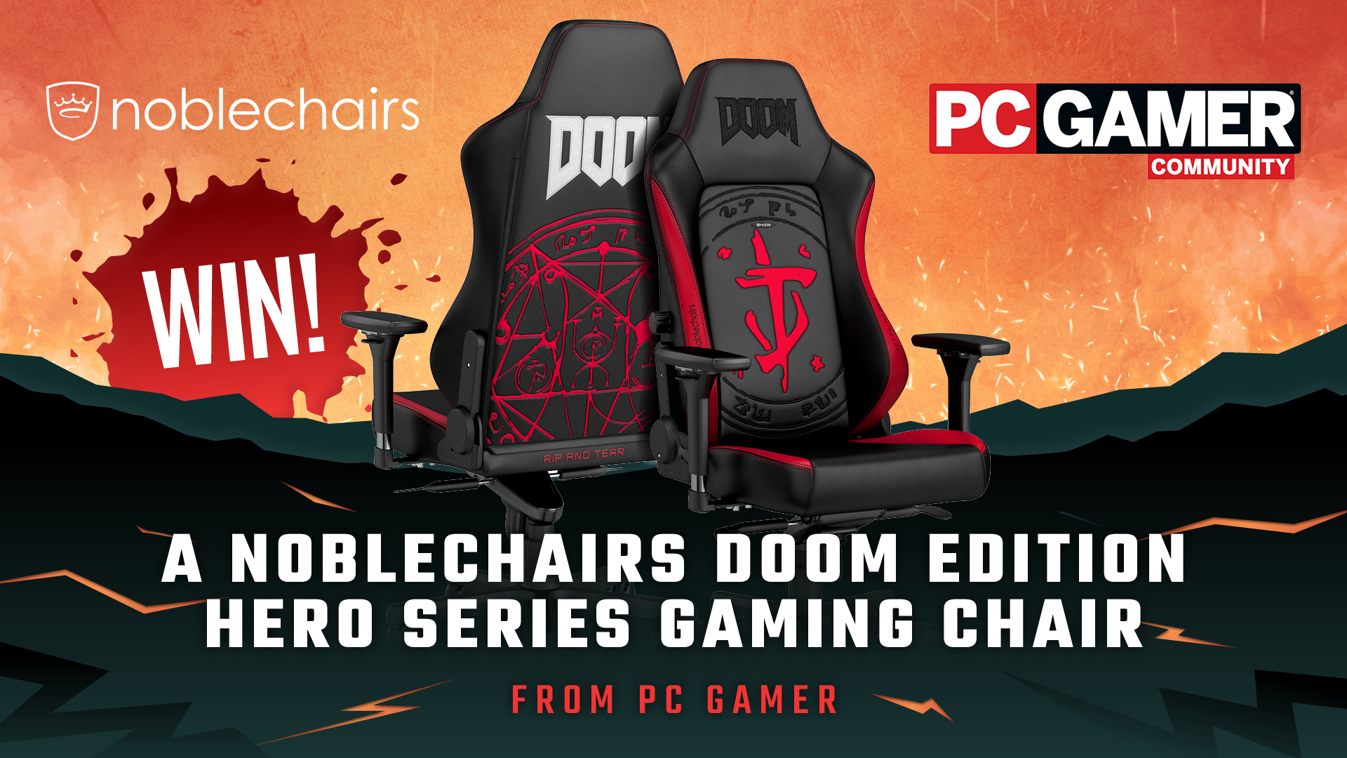Giveaway: win an epic Noblechairs DOOM gaming chair on the PC Gamer forums
