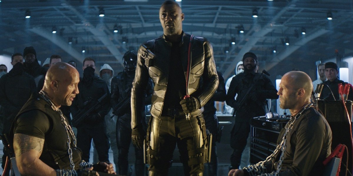 Dwayne Johnson, Idris Elba, and Jason Statham in Hobbs & Shaw