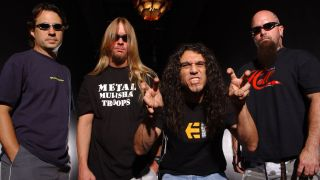 Slayer pose for a portrait at Revolution on May 11, 2002 in Fort Lauderdale, Florida.