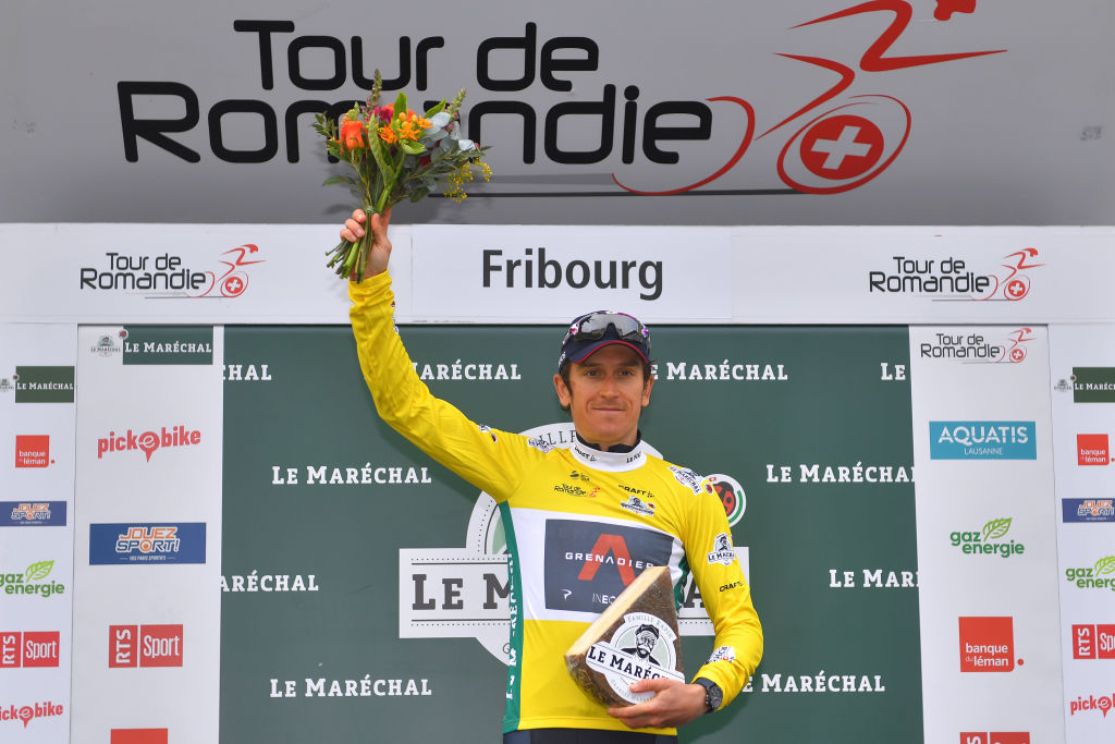 FRIBOURG SWITZERLAND MAY 02 Geraint Thomas of The United Kingdom and Team INEOS Grenadiers Yellow Leader Jersey celebrates at podium during the 74th Tour De Romandie 2021 Stage 5 a 1619km Individual Time Trial stage from Fribourg to Fribourg 614m Cheese Trophy ITT TDR2021 TDRnonstop UCIworldtour on May 02 2021 in Fribourg Switzerland Photo by Luc ClaessenGetty Images
