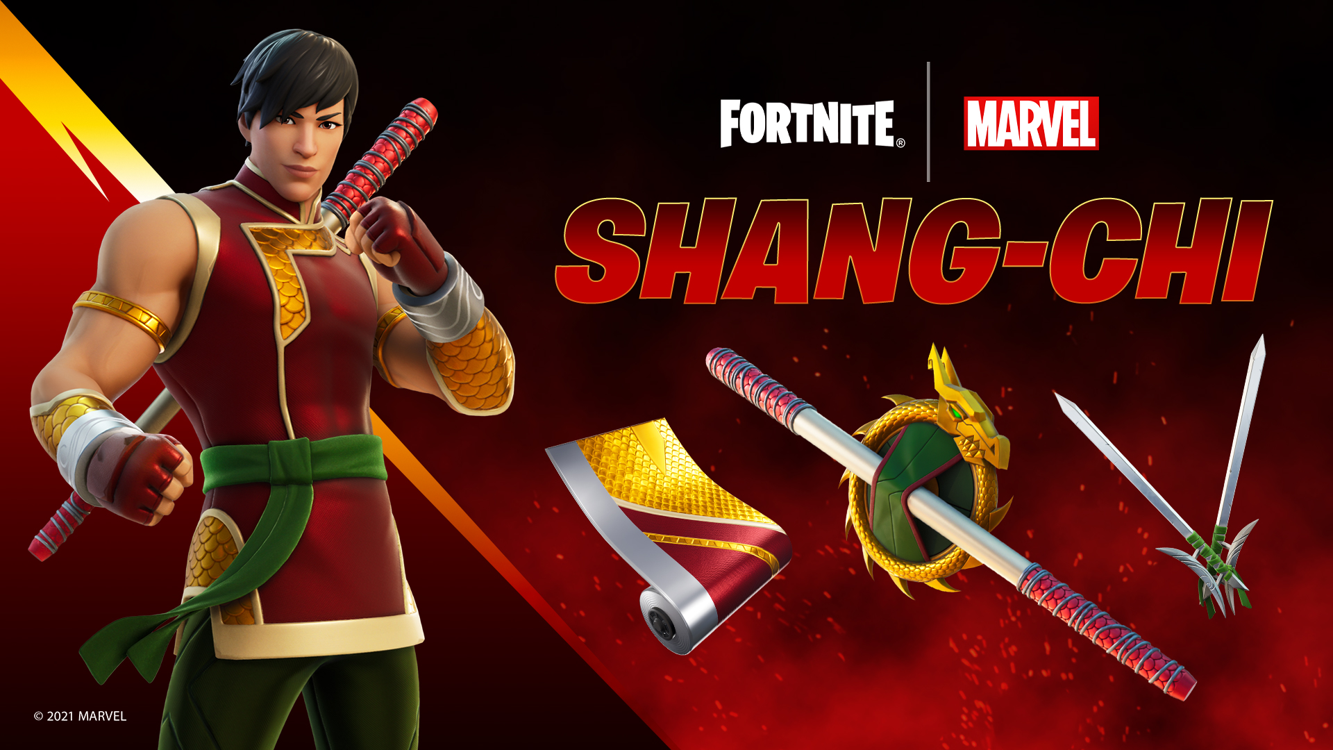 The Shang-Chi Fortnite Skin on a bed backdrop next to his dragon inspired weapons, and red and gold weapon wrap.
