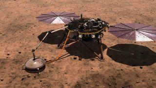 An artist's depiction of the InSight lander on Mars.