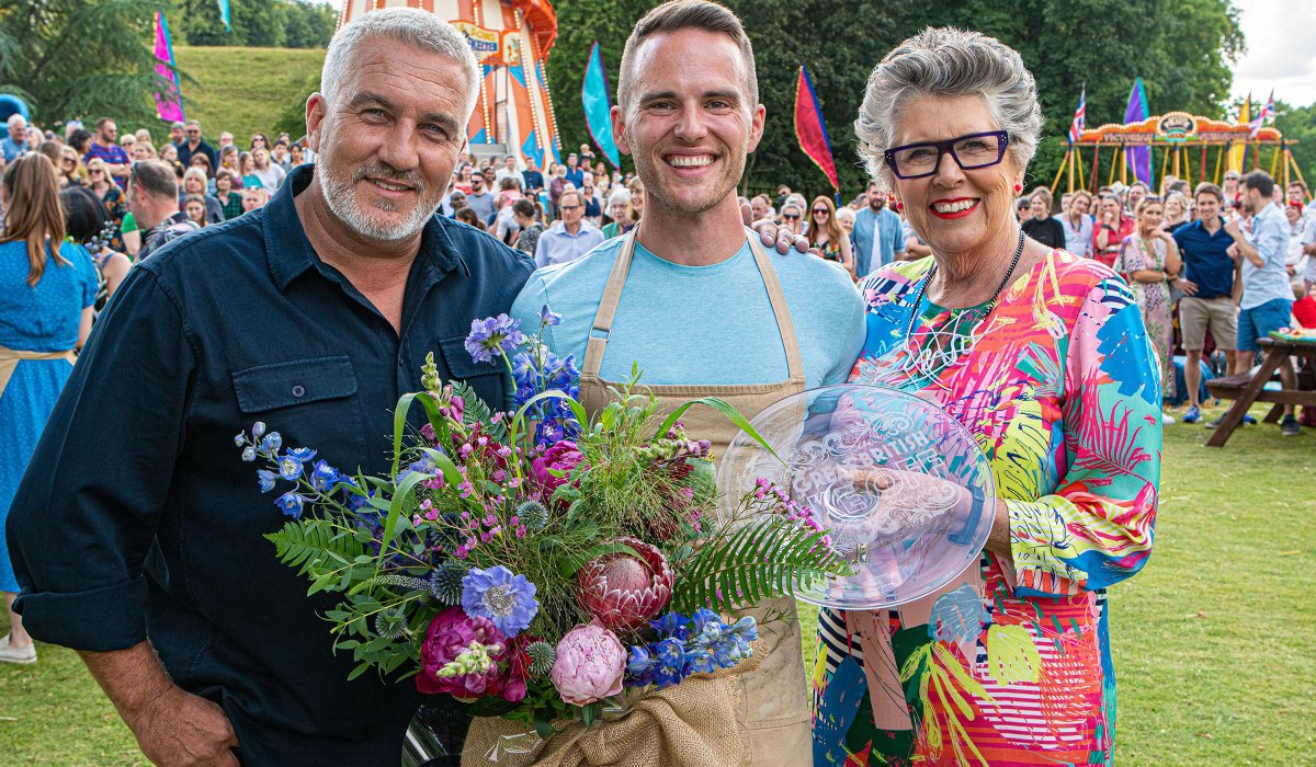 Great British Baking Show Paul and Prue flank new winner David in the finale
