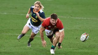 British & Irish Lions vs Stormers live stream — Faf de Klerk of South Africa A and Tom Curry of the British & Irish Lions at Cape Town Stadium, South Africa, on July 14, 2021.