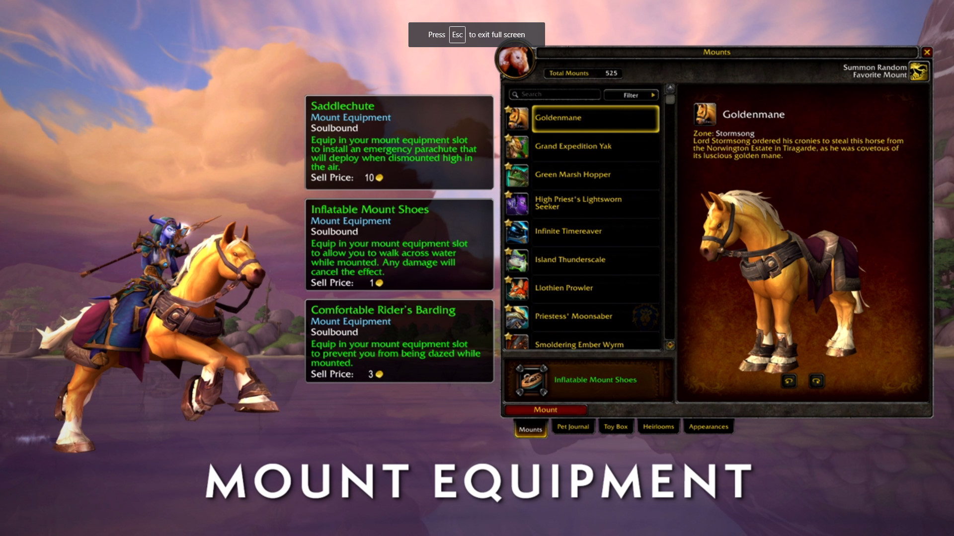 World of Warcraft to add mount equipment so you can stop using that damn Water Strider all the time