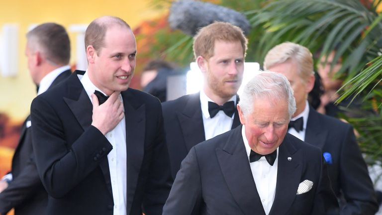 """Prince William, Duke of Cambridge, Prince Harry, Duke of Sussex and Prince Charles, Prince of Wales attend the """"Our Planet"""" global premiere at Natural History Museum on April 04, 2019 in London, England"""