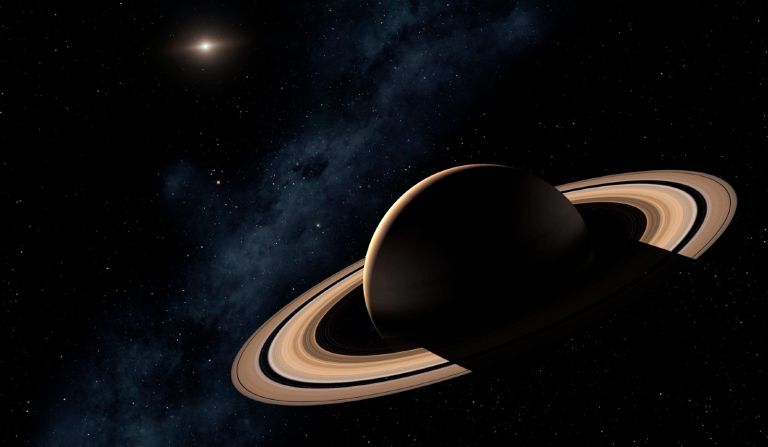 Saturn planet in solar system, close-up - stock photo