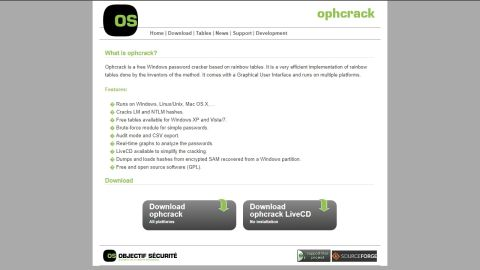 Ophcrack's homepage