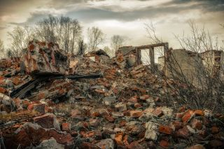 The post-apocalyptic landscape after a nuclear war.