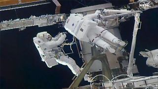 NASA astronaut Kate Rubins (right) and JAXA astronaut Soichi Noguchi (left) are pictured during a spacewalk outside the International Space Station, on March 5, 2021.