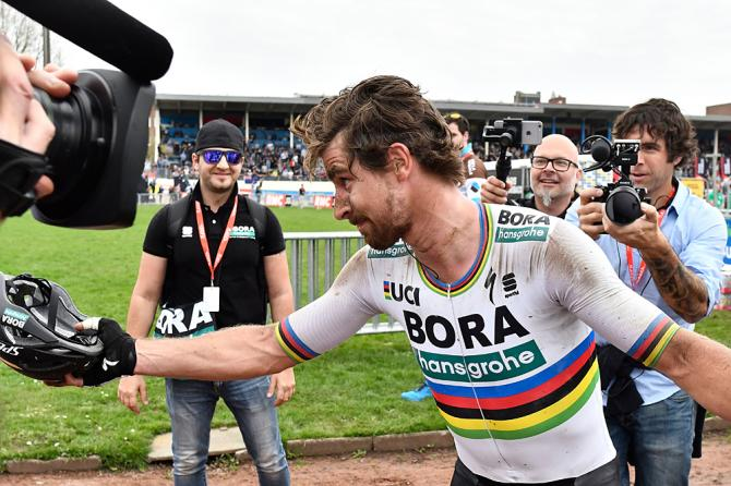 Peter Sagan celebrates his victory in the Roubaix Velodrome