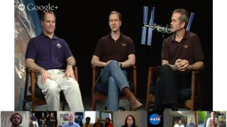 Astronauts Ford, Marshburn and Hadfield in Google+ Hangout