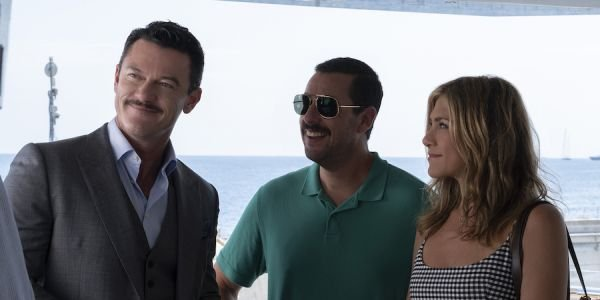 Luke Evans, Adam Sandler and Jennifer Aniston in Murder Mystery