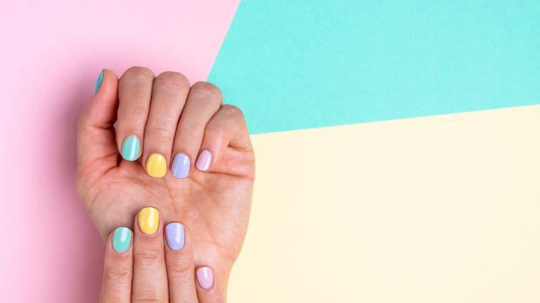 Pastel nails on a pastel backdrop
