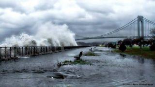 Waves crash ashore near the Verrazano Bridge in Brooklyn, N.Y., ahead of Hurricane Sandy's landfall on Monday, Oct. 29.