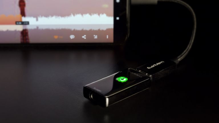 Best headphones DAC 2021, EarMen Sparrow connected to Android phone