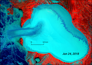 Satellite data shows how ice at the Vavilov Ice Cap flowed in a stream-like pattern toward the ocean on June 24, 2018.