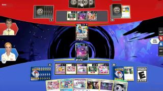 Two sets of pokemon cards, with two cards battling across an inky vortex in the center